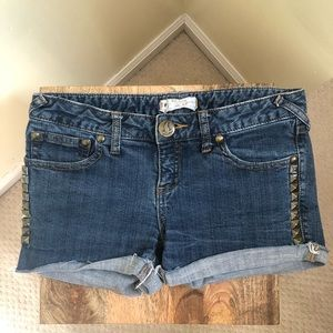 Free People Studded rolled up Cut Off jean Shorts